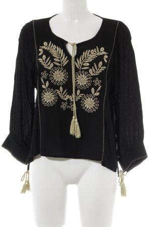 Tunikabluse schwarz Blumenmuster Casual-Look