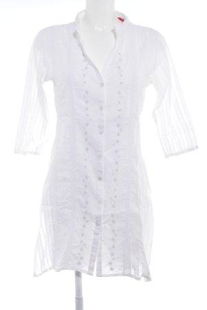 Tunique-blouse blanc motif floral style simple