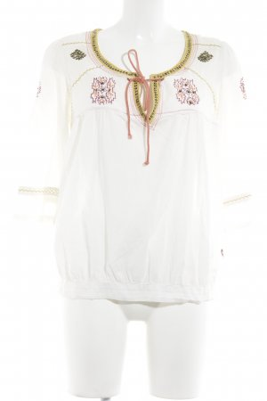 Blusa de túnica blanco letras bordadas Adornos de lentejuelas