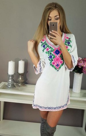 Robe tunique multicolore