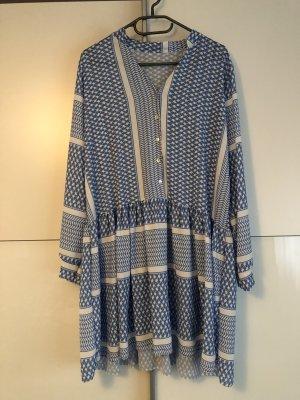 100% Fashion Midi-jurk staalblauw-wit Lycra