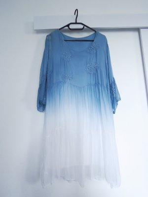 Tunic Dress white-steel blue silk