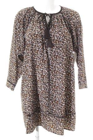 Tunikakleid braun-olivgrün abstraktes Muster Boho-Look
