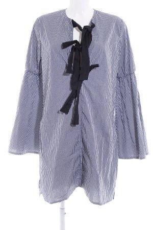 Abito a tunica blu scuro-bianco motivo a quadri stile casual