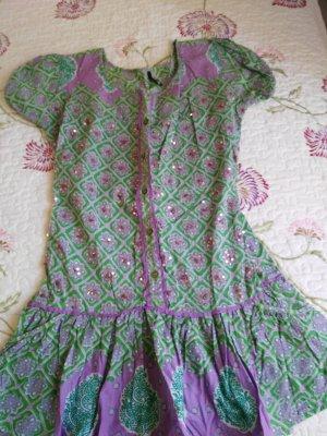 Robe tunique gris violet-vert clair