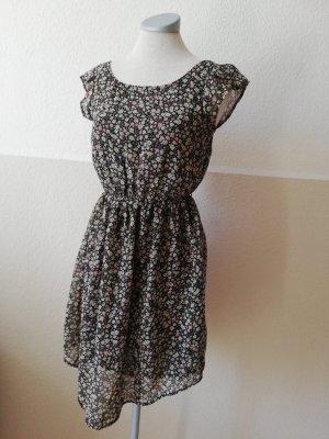 Tunikakleid Hemdkleid Kleid kurz Gr. 34 XS Blumen geblümt Sommerkleid