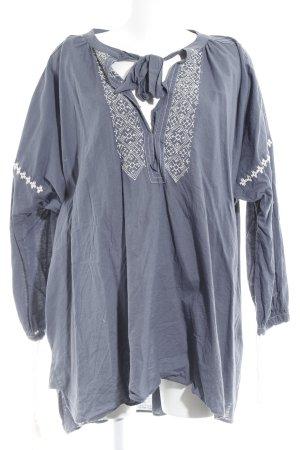 Vestido tipo túnica azul aciano-blanco puro look Boho