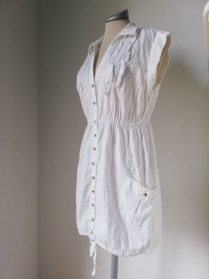 Tunikakleid Minikleid Gr. 40 UK 12 M L weiß Baumwolle Sommerkleid Kleid mini kurz