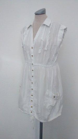 Tunikakleid Minikleid Gr. 40 UK 12 weiß Baumwolle Sommerkleid Kleid