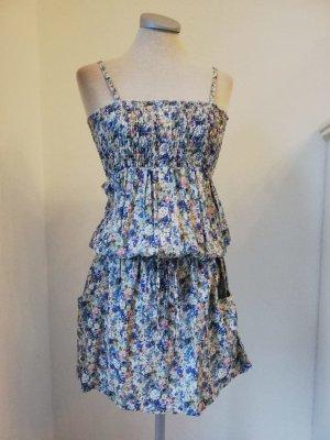 Tunikakleid Trägerkleid Kleid Minikleid kurz mini Blumen geblümt blau Gr. 34 36 XS S neu