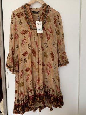 Zara Vestido tipo túnica multicolor