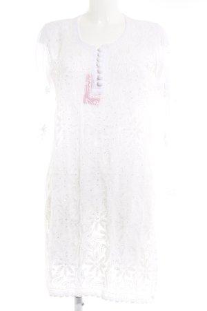 Tunikakleid weiß florales Muster Boho-Look