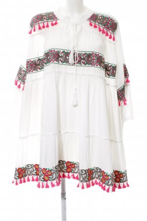 Tunic Dress white-neon pink embellished pattern beach look