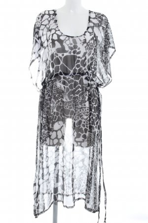 Vestido tipo túnica blanco-negro estampado con diseño abstracto