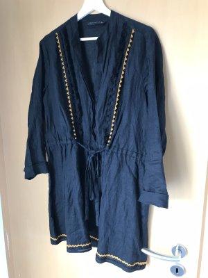 Zara Vestido tipo túnica negro-naranja dorado