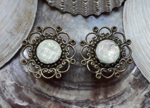Tunnel Plug 16mm Boho Bronze Mandala Hippie Statement Ethno Opal