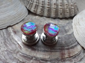 Tunnel Plug 8mm Boho Glitter Rainbow Mondstein Statement