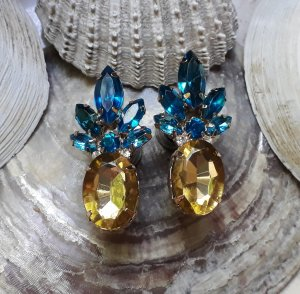 Tunnel Plug Boho 8mm Pineapple Tropical Strass Gold Statement