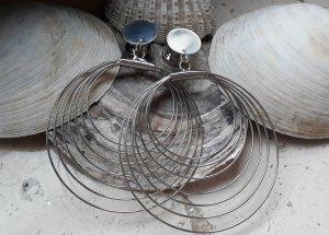 Tunnel Plug mit Anhänger Boho 8mm Silber Statement Creolen
