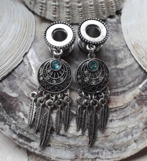 Tunnel Plug mit Anhänger Boho 8mm Türkis Traumfänger Federn Dangle