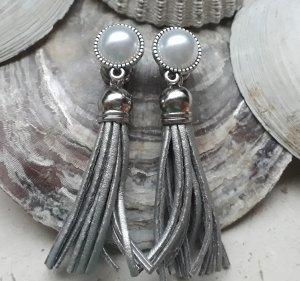 Tunnel Plug mit Anhänger Boho Quaste Perle Silber
