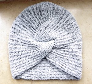 Pieces Knitted Hat silver-colored-grey
