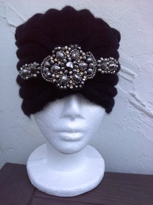 Knitted Hat black-silver-colored