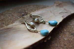 Turkis Stein Ohrringe mit Suesswasserperle Boho Beach Style