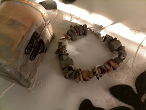 Turmalin Armband, Edelsteine, grau, braun, NEU