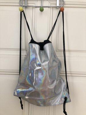 Turnbeutel-Rucksack im Silber glänzend Damen