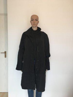 Turnover  Design Luxus Designer Mantel Stehkragen Reißverschluss schwarz Black matt Glanz glänzend fleecefutter m Medium