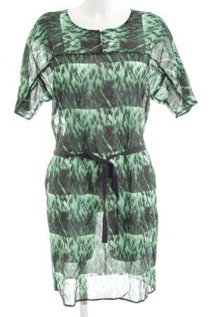 Turnover Kurzarmkleid grün-schwarz Allover-Druck schlichter Stil