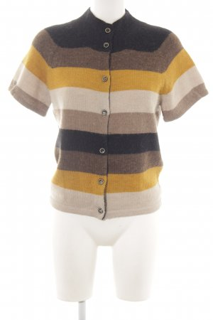 Turnover Short Sleeve Knitted Jacket striped pattern casual look