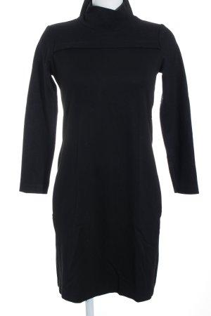 Turnover Langarmkleid schwarz schlichter Stil