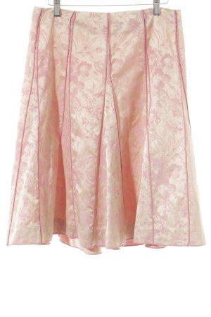 Turnover Midirock rosa-goldfarben Blumenmuster Elegant