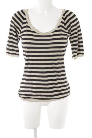 Turnover Maglietta a righe beige chiaro-nero motivo a righe stile casual