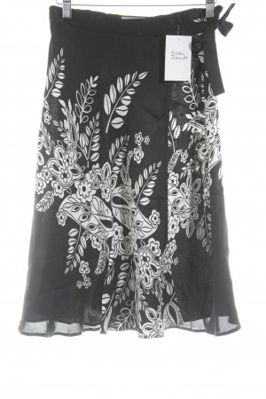 Turnover Gonna in seta nero-bianco motivo floreale stile casual