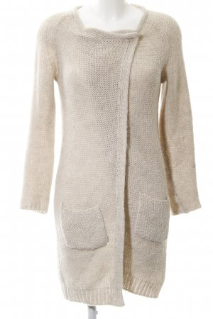 Turnover Strick Cardigan creme Zopfmuster Casual-Look