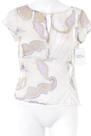 Turnover Transparenz-Bluse abstraktes Muster extravaganter Stil
