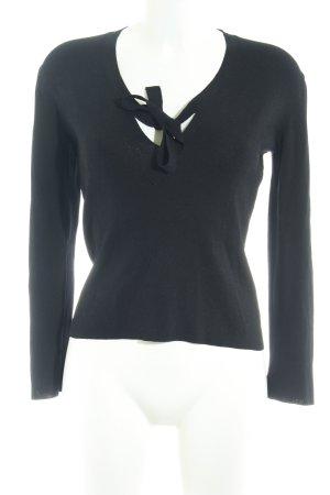 Turnover V-Ausschnitt-Pullover schwarz Casual-Look