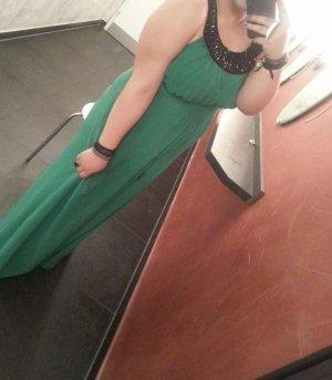 Turquoise bodenlanges Abendkleid