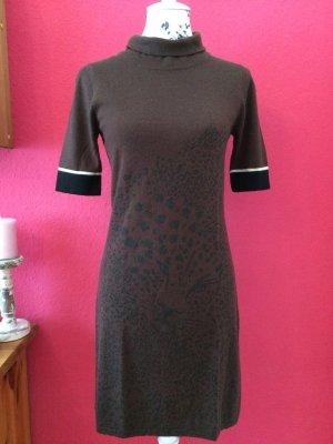 Tuzzi braunes, gemustertes Kleid aus Wollmischung