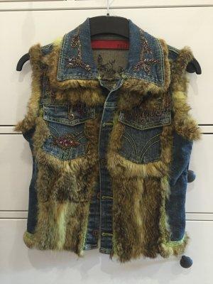 Tuzzi Jeans-Fellweste mit süßen Applikationen