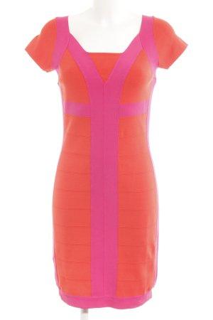 Tuzzi Vestido de tubo rosa neón-naranja neón bloques de color elegante
