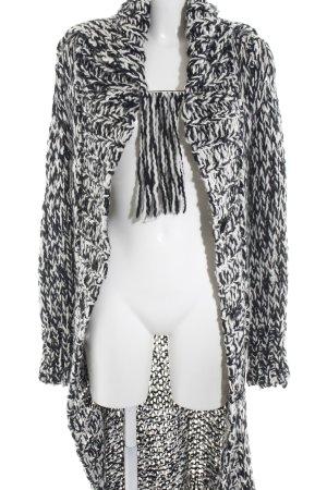 Tuzzi Strickjacke schwarz-weiß Zopfmuster Casual-Look