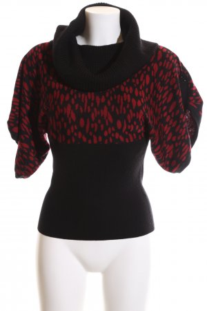 Tuzzi Knitted Sweater black-red allover print casual look