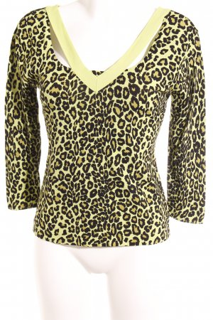 Tuzzi V-Ausschnitt-Pullover neongrün-schwarz Leomuster Party-Look