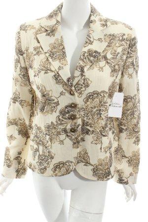 Tuzzi Woll-Blazer creme-beige florales Muster Schimmer-Optik