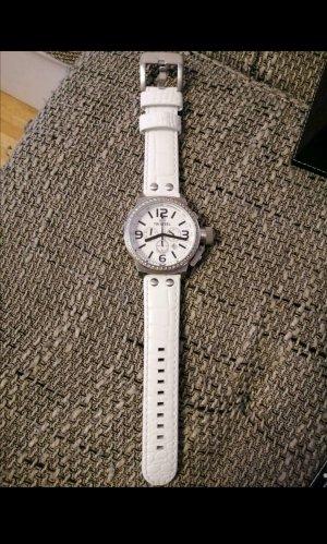 Orologio con cinturino di pelle bianco