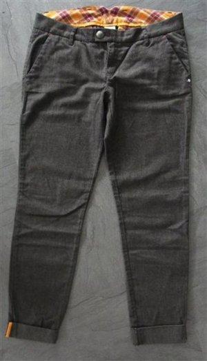 Tweed Chino Gr. 36 Regular karierter Bund Grau Gelb